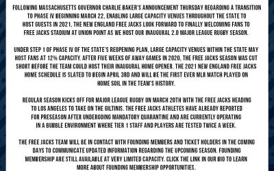 Statement from Free Jacks officials on Massachusetts' transition to Phase IV